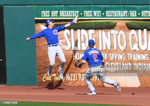 Albert Almora Jr of the Chicago Cubs makes a leaping catch at the wall during the fourth inning against the Cincinnati Reds during a spring training...