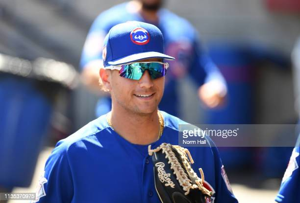 Albert Almora Jr of the Chicago Cubs walks through the dugout prior to a spring training game against the Milwaukee Brewers at Maryvale Baseball Park...