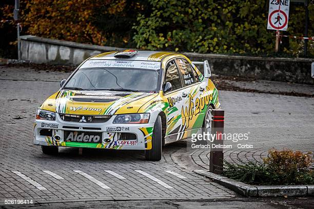 Albert and Mergny in the Mitsubishi EVO IX in action during the 42e Rallye Du Condroz-Huy in Huy, Belgium on November 8, 2015.
