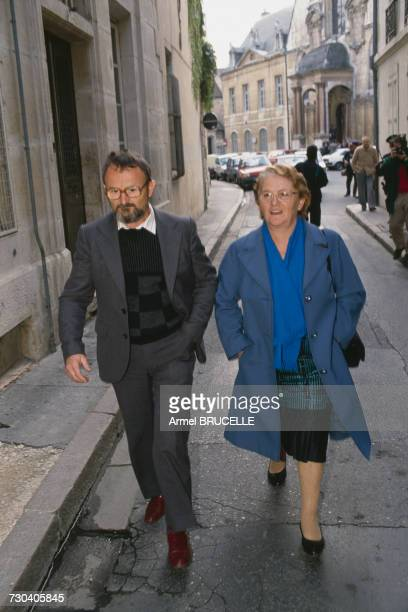 Albert and Monique Villemin, grandparents of murdered four year-old boy Grégory Villemin , in Dijon for a court hearing before Justice Simon,...
