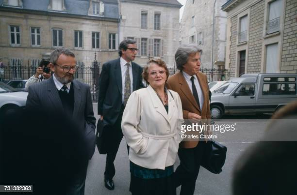 Albert and Monique Villemin grandparents of murdered four yearold boy Grégory Villemin with lawyer Paul Lombard in Dijon for a court hearing in the...