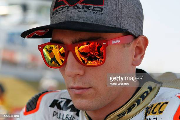 Albert Arenas of Spain and Angel Nieto prepares for the Moto3 race during the MotoGP of Germany at Sachsenring Circuit on July 15 2018 in...