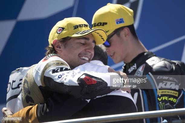 Albert Arenas of Spain and Angel Nieto Team Moto3 celebrates the victory on the podium at the end of the Moto3 race during the MotoGP of Australia...