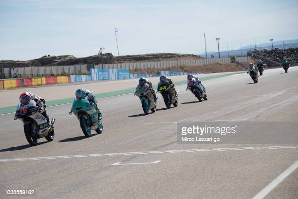 Albert Arenas of Spain and Angel Nieto Team Moto3 during the Moto3 race during the MotoGP of Aragon Race at Motorland Aragon Circuit on September 23...