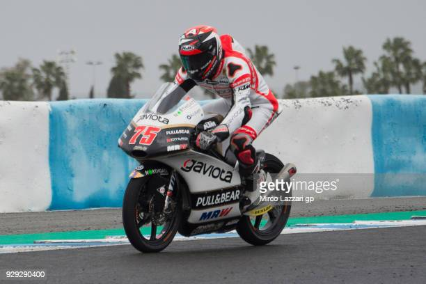Albert Arenas of Spain and Angel Nieto Team Moto3 KTM heads down a straight during the Moto2 Moto3 Tests In Jerez at Circuito de Jerez on March 8...