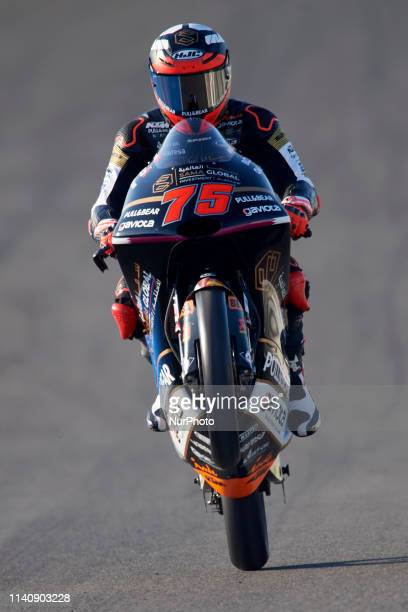 Albert Arenas of Spain and Angel Nieto Team Moto3 KTM making a wheelie during the free practice of Red Bull GP of Spain at Circuito de Jerez on May...
