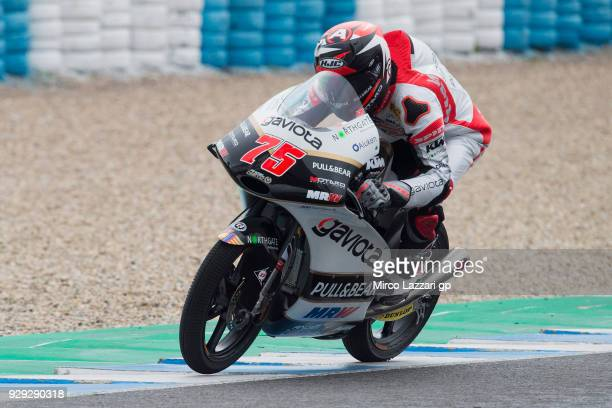 Albert Arenas of Spain and Angel Nieto Team Moto3 KTM rounds the bend during the Moto2 Moto3 Tests In Jerez at Circuito de Jerez on March 8 2018 in...