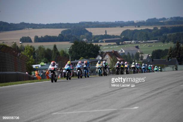 Albert Arenas of Spain and Angel Nieto Team Moto3 leads the field during the Moto3 race during the MotoGp of Germany Race at Sachsenring Circuit on...