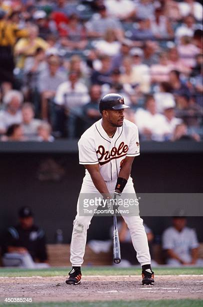 Albert Belle of the Baltimore Orioles bats against the Florida Marlins at Oriole Park at Camden Yards on July 16 2000 in Baltimore Maryland