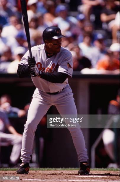 Albert Belle of the Baltimore Orioles bats against the Kansas City Royals at Kauffman Stadium on April 13 2000 in Kansas City Missouri The Royals...