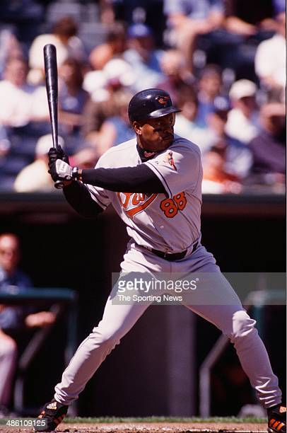 Albert Belle of the Baltimore Orioles bats against the Kansas City Royals at Kauffman Stadium on April 13 2000 in Kansas City Missouri The Royals...