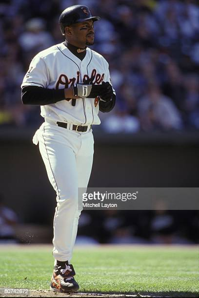 Albert Belle of the Baltimore Orioles bats during a baseball game on April 31999 at Camden Yards in Baltimore Maryland
