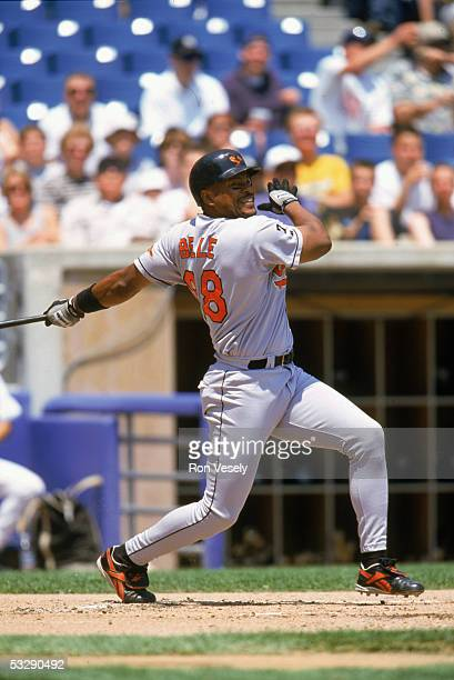 Albert Belle of the Baltimore Orioles bats during an MLB game at Comiskey Park in Chicago Illinois
