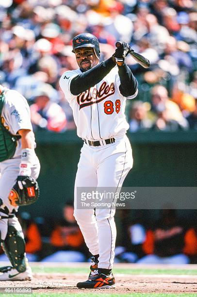 Albert Belle of the Baltimore Orioles bats during the game against the Oakland Athletics on April 25 1999 at Oriole Park at Camden Yards in Baltimore...