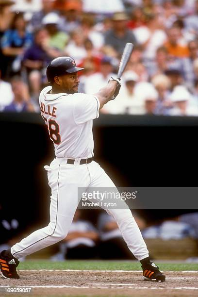 Albert Belle of the Baltimore Orioles takes a swing during a baseball game against the Chicago White Sox on August 17 2000 at Camden Yards in...
