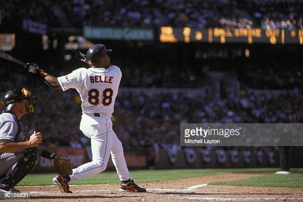 Albert Belle of the Baltimore Orioles takes a swing during a baseball game against the Toronto Blue Jays on April 11 1999 at Camden Yards in...