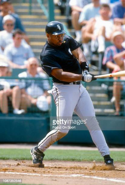 Albert Belle of the Chicago White Sox bats during a Major League Baseball game circa 1997 Belle played for the White Sox from 199798