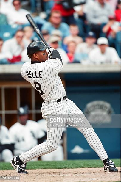 Albert Belle of the Chicago White Sox during the game against the Tampa Bay Devil Rays on April 11 1998 at Comiskey Park in Chicago Illinois