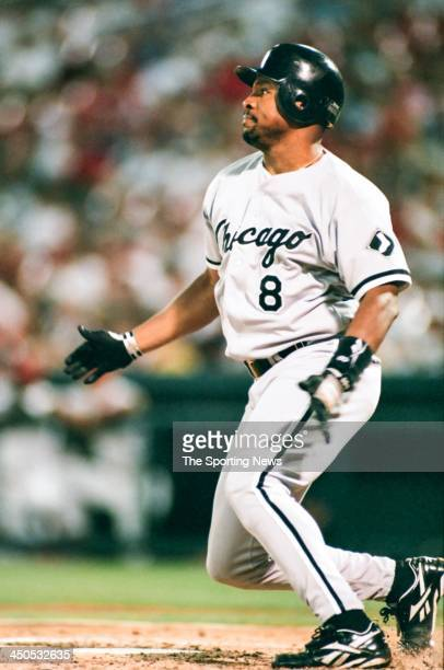 Albert Belle of the Chicago White Sox during the game against the St Louis Cardinals at Busch Stadium on September 2 1997 in St Louis Missouri