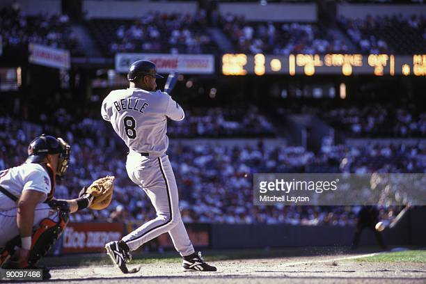 Albert Belle of the Chicago White Sox takes a swing bats during a baseball game against the Baltimore Orioles on Juy 1 1997 at Camden Yards in...