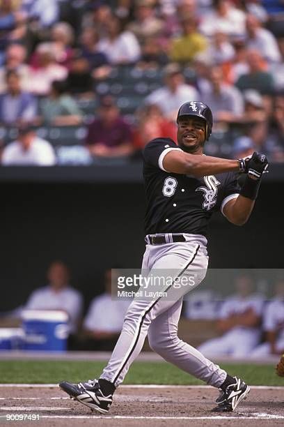 Albert Belle of the Chicago White Sox takes a swing during a baseball game against the Baltimore Orioles on April 15 1998 at Camden Yards in...