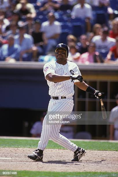 Albert Belle of the Chicago White Sox taks a swing during a baseball game against the Boston Red Sox on July 1 1997 at New Comiskey Park in Chicago...