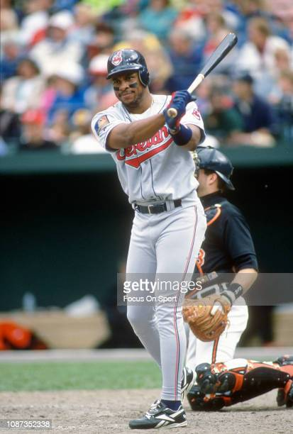 Albert Belle of the Cleveland Indians bats against the Baltimore Orioles during a Major League Baseball game circa 1994 at Orioles Park at Camden...