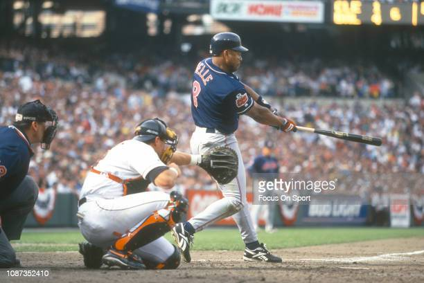 Albert Belle of the Cleveland Indians bats against the Baltimore Orioles during a Major League Baseball game circa 1996 at Orioles Park at Camden...