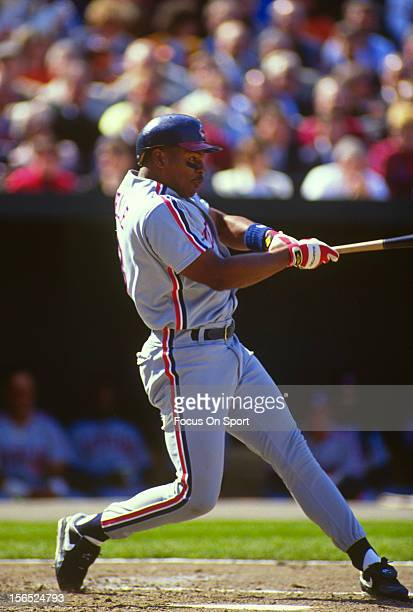 Albert Belle of the Cleveland Indians bats against the Baltimore Orioles during a Major League Baseball game circa 1993 at Orioles Park at Camden...