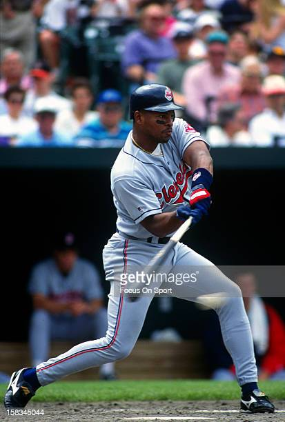 Albert Belle of the Cleveland Indians bats against the Baltimore Orioles during a Major League Baseball game circa 1995 at Orioles Park at Camden...