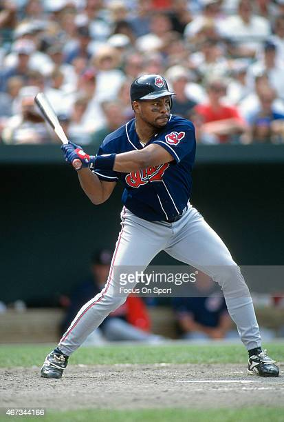 Albert Belle of the Cleveland Indians bats against the Baltimore Orioles during an Major League Baseball game circa 1996 at Oriole Park at Camden...