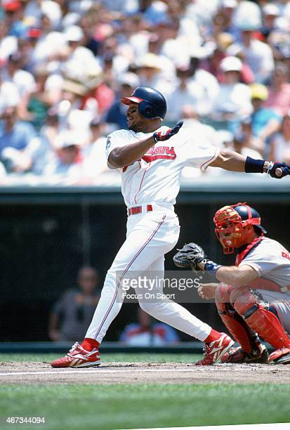 Albert Belle of the Cleveland Indians bats against the Boston Red Sox during an Major League Baseball game circa 1995 at Cleveland Stadium in...