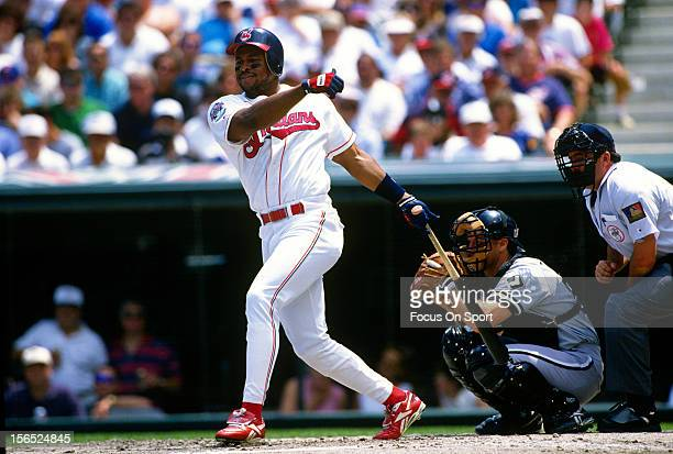 Albert Belle of the Cleveland Indians bats against the Chicago White Sox during an Major League Baseball game circa 1994 at Cleveland Stadium in...