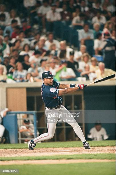 Albert Belle of the Cleveland Indians bats against the Chicago White Sox on July 15 1994 at Comiskey Park in Chicago Illinois The Indians defeated...