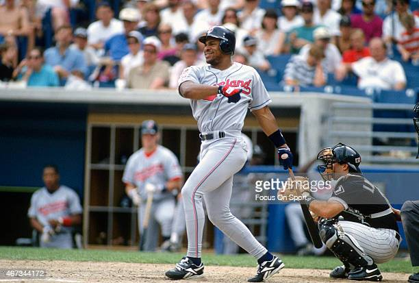 Albert Belle of the Cleveland Indians bats against the Chicago White Sox during an Major League Baseball game circa 1995 at Comiskey Park in Chicago...