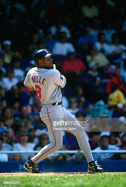 Albert Belle of the Cleveland Indians bats against the Detroit Tigers during a Major League Baseball game circa 1994 at Tiger Stadium in Detroit...