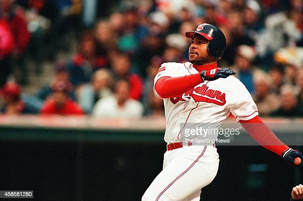 Albert Belle of the Cleveland Indians bats against the Detroit Tigers at Comerica Park on May 16 1996 in Detroit Michigan