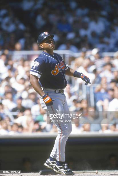 Albert Belle of the Cleveland Indians bats against the New York Yankees during a Major League Baseball game circa 1995 at Yankee Stadium in the Bronx...