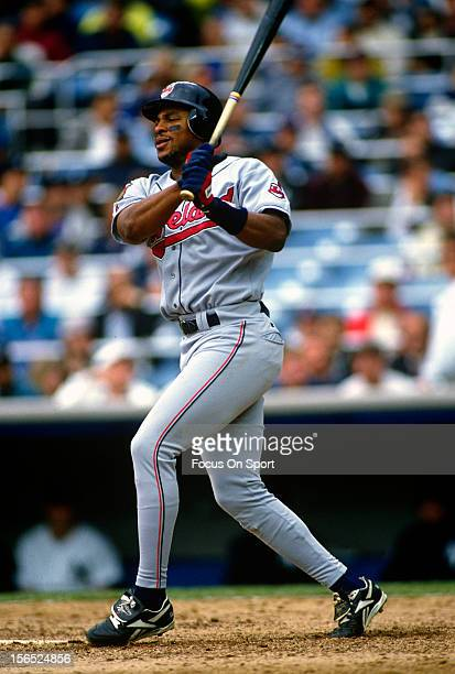 Albert Belle of the Cleveland Indians bats against the New York Yankees during a Major League Baseball game circa 1994 at Yankee Stadium in the Bronx...