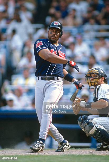 Albert Belle of the Cleveland Indians bats against the New York Yankees during an Major League Baseball game circa 1996 at Yankee Stadium in the...