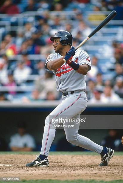 Albert Belle of the Cleveland Indians bats against the New York Yankees during an Major League Baseball game circa 1994 at Yankee Stadium in the...