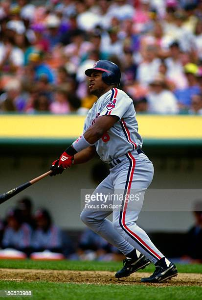 Albert Belle of the Cleveland Indians bats against the Oakland Athletics during a Major League Baseball game circa 1991 at the OaklandAlameda County...