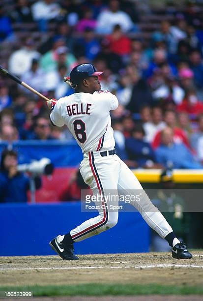 Albert Belle of the Cleveland Indians bats against the Oakland Athletics during an Major League Baseball game circa 1990 at Cleveland Stadium in...