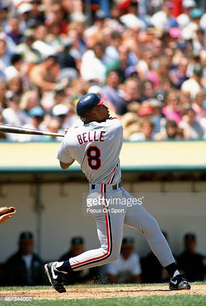 Albert Belle of the Cleveland Indians bats against the Oakland Athletics during an Major League Baseball game circa 1991 at the OaklandAlameda County...