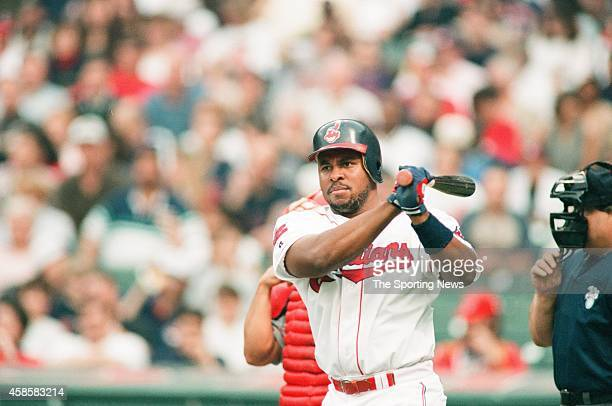 Albert Belle of the Cleveland Indians bats against the Texas Rangers at Progressive Field on May 17 1996 in Cleveland Ohio