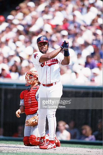 Albert Belle of the Cleveland Indians bats against the Texas Rangers at Progressive Field on May 18 1996 in Cleveland Ohio