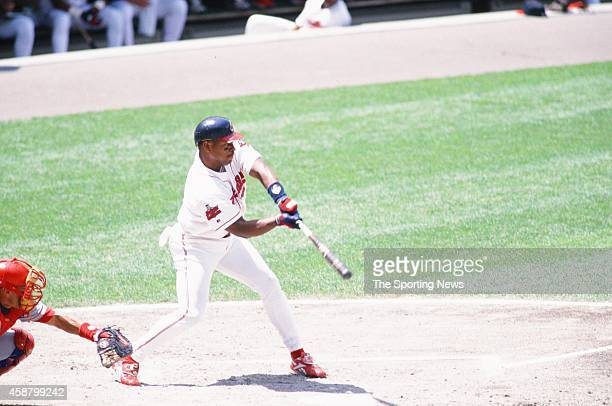 Albert Belle of the Cleveland Indians bats against the Texas Rangers at Progressive Field on May 19 1996 in Cleveland Ohio