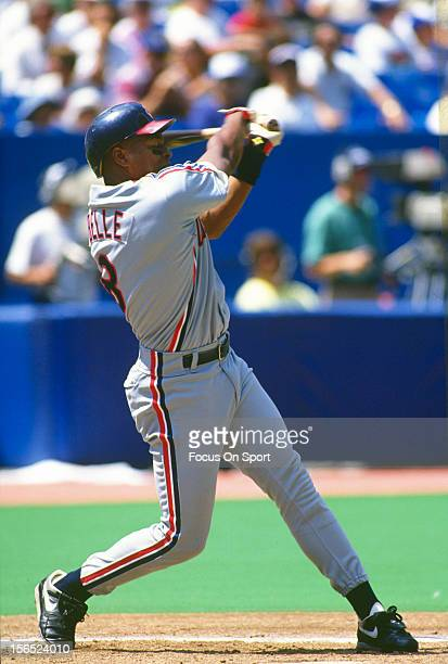 Albert Belle of the Cleveland Indians bats against the Toronto Blue Jays during an Major League Baseball game circa 1991 at the Sky Dome in Toronto...
