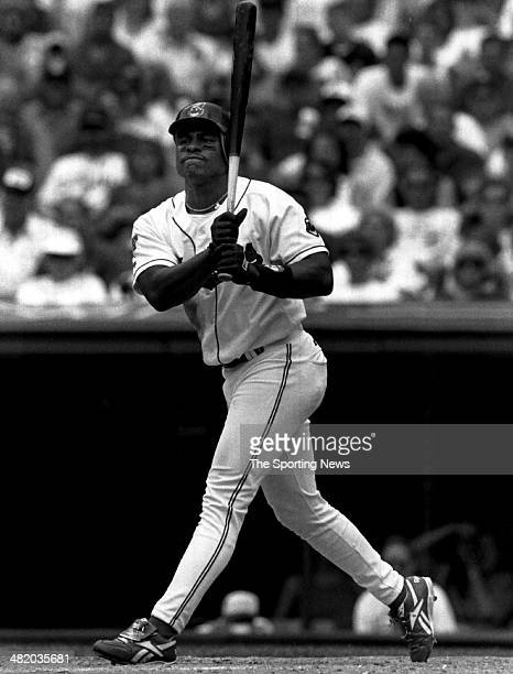 Albert Belle of the Cleveland Indians bats circa 1990s