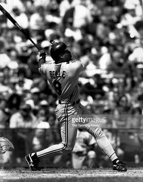 Albert Belle of the Cleveland Indians bats circa 1990s